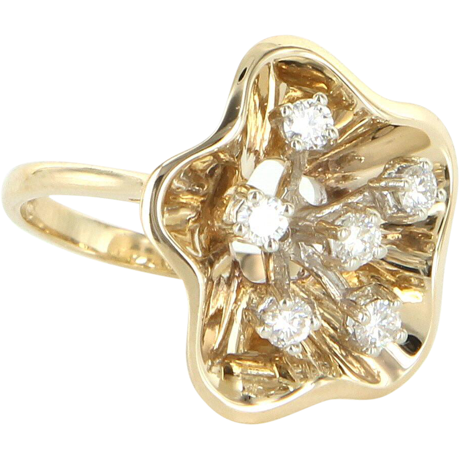 Vintage Diamond Flower Cocktail Ring 14 Karat Yellow Gold Estate Fine Jewelry 6.25