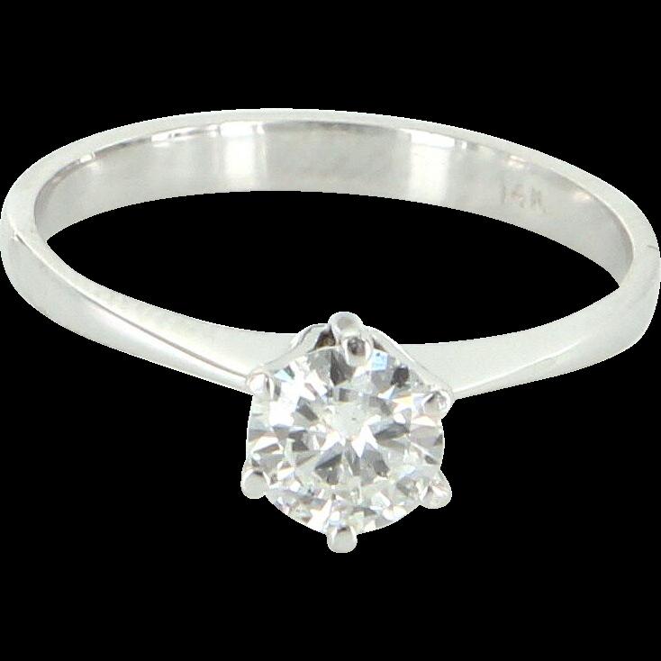 Vintage 1/2 Carat Diamond Engagement Ring 14 Karat White Gold Estate Jewelry 7