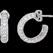 Tiffany & Co Etoile Hoop Earrings Pave 3 Row Diamond 950 Platinum Estate Jewelry