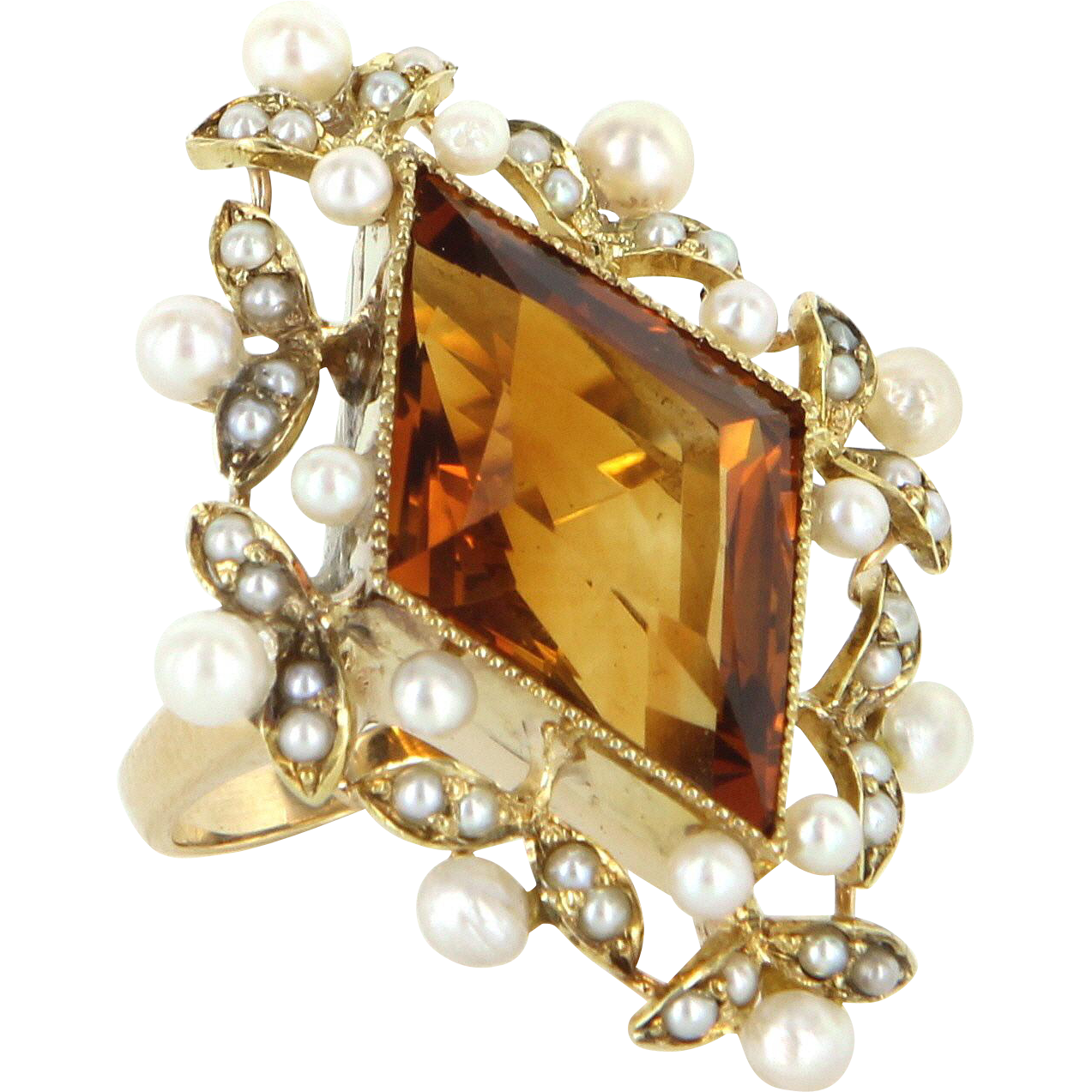 Vintage Citrine Seed Pearl 14 Karat Gold Cocktail Ring Estate Fine Jewelry Pre Owned
