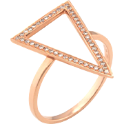 Triangle Pave Diamond Cocktail Ring Estate 14 Karat Rose Gold Fine Pre Owned Jewelry
