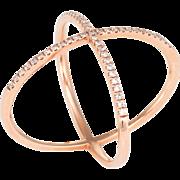 Pave Diamond Cross Band Ring Estate 14 Karat Rose Gold Fine Vintage Jewelry