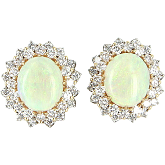Vintage Opal 1.60ct Diamond Clip Cocktail Earrings 14 Karat Gold Estate Fine Jewelry