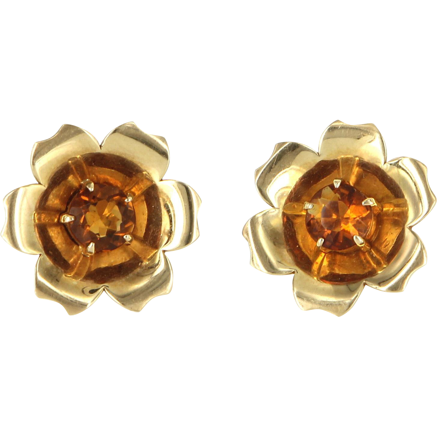 Vintage Retro Citrine Flower Cocktail Earrings 14 Karat Yellow Gold Estate Pre Owned