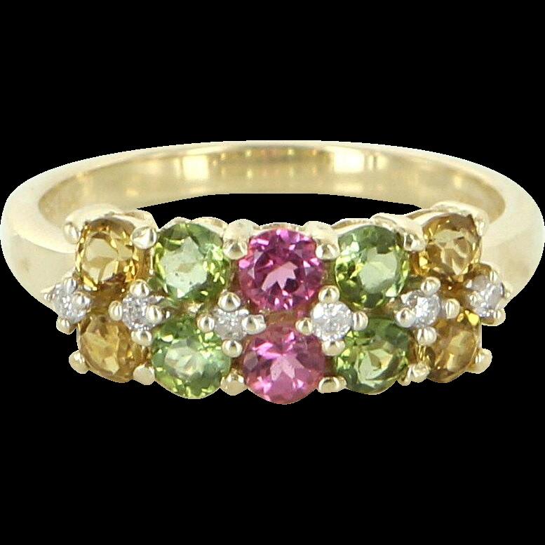 Vintage Peridot Citrine Pink Topaz Diamond Stack Ring 14 Karat Gold Estate Fine Jewelry 7.25