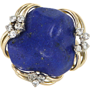Vintage Lapis Lazuli Diamond Cocktail Ring 14 Karat Yellow Gold Estate Jewelry 5 1/4