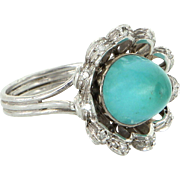 Vintage Persian Turquoise Diamond Cocktail Ring 14 Karat White Gold Estate Jewelry