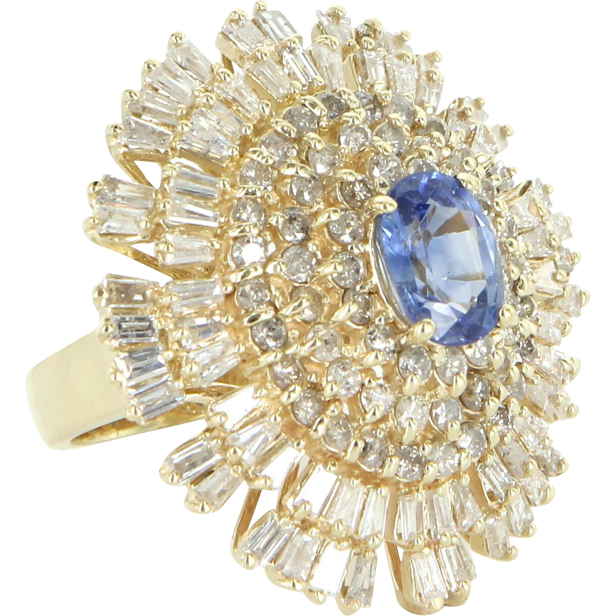 Vintage Huge Sapphire Diamond Cocktail Ring 14 Karat Gold Estate Fine Jewelry 7.5