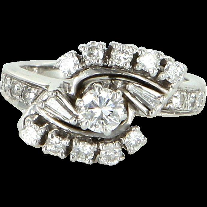 Vintage Diamond 14 Karat White Gold Wedding Ring Estate Fine Bridal Jewelry Pre Owned