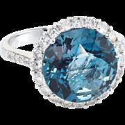 London Blue Topaz Diamond Halo Cocktail Ring Vintage 14 Karat White Gold Estate