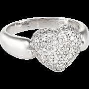 1.30ct Pave Diamond Heart Ring Vintage 950 Platinum Estate Fine Jewelry Heirloom