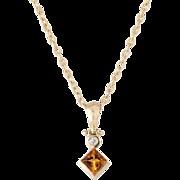 Citrine Diamond Drop Necklace Estate 14 Karat Yellow Gold Vintage Fine Jewelry