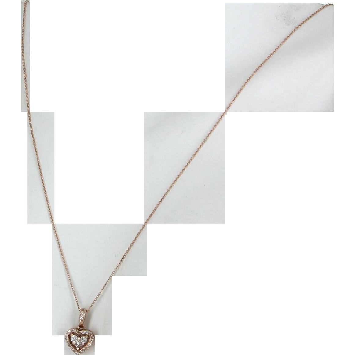 Diamond Heart Pendant Necklace Vintage 14 Karat Rose Gold Estate Fine Jewelry