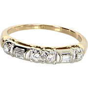 Mixed Cut Diamond Band Vintage 14 Karat Yellow Gold Estate Fine Jewelry Sz 5