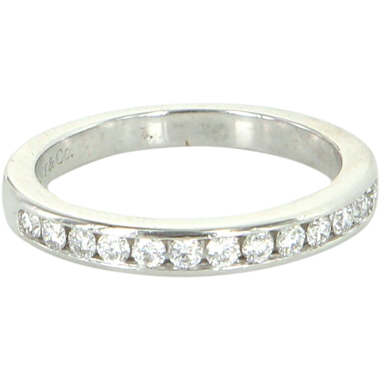 Estate Tiffany & Co Diamond Half Circle Wedding 2mm Band Ring 950 Platinum Sz 4