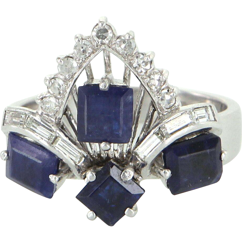 Kyanite Diamond Tiara Cocktail Ring Vintage 14 Karat White Gold Estate Fine Jewelry