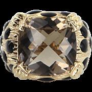 Smoky Topaz Black Enamel Ring Vintage 14 Karat Yellow Gold Cocktail Estate Jewelry