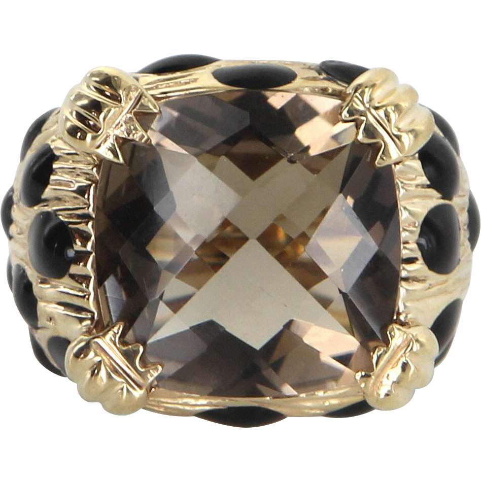 Smoky Topaz Black Enamel Ring Vintage 14 Karat Yellow Gold Cocktail Estate Jewelry