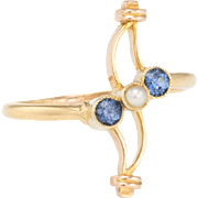 Antique Victorian Sapphire Pearl Ring Vintage 14 Karat Yellow Gold Estate Jewelry