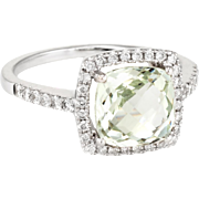 Prasiolite Diamond Cocktail Ring Estate 14 Karat White Gold Fine Jewelry Pre Owned