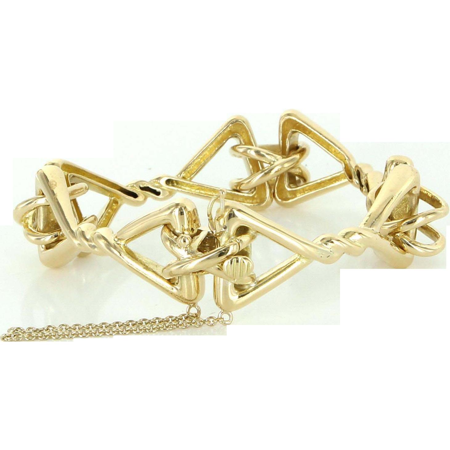 Tiffany Co 18k Yellow Gold Ornate Vintage Bracelet Estate