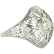Belais Diamond 18k White Gold Geometric Filigree Ring Vintage Deco Cocktail