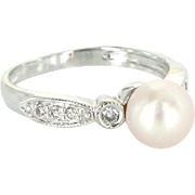 Cultured Pearl Diamond Vintage Ring 10 Karat White Gold Estate Pre Owned Jewelry 6.75