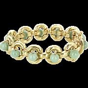 Vintage Jade Round Link Bracelet Heavy 14 Karat Yellow Gold Estate Jewelry Fine