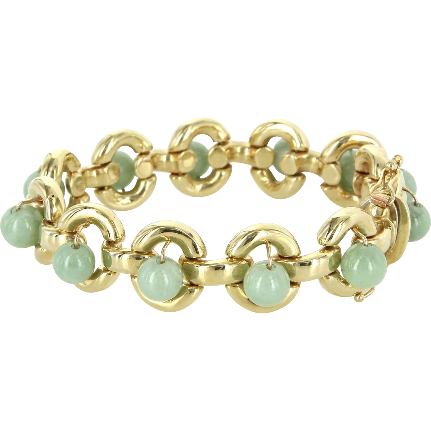 Vintage Jade Round Link Bracelet Heavy 14 Karat Yellow Gold Estate Jewelry Fine