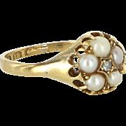 Antique Victorian Diamond Pearl 18 Karat Gold Daisy Ring Vintage Fine Jewelry