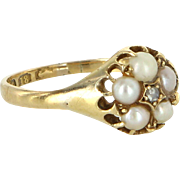 Antique Victorian Diamond Pearl 18 Karat Gold Daisy Ring Vintage Fine Jewelry