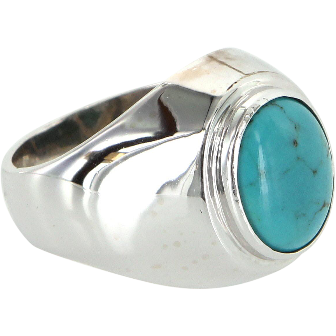 Mens Turquoise Oval Dress Ring 14 Karat White Gold Vintage Jewelry Pre Owned 8.25