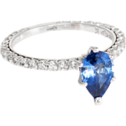 Pear Cut Natural Sapphire Diamond Engagement Ring Estate 18 Karat White Gold Jewelry