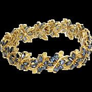 10ct Sapphire Flower Bracelet Vintage 18 Karat Yellow Gold Estate Fine Jewelry