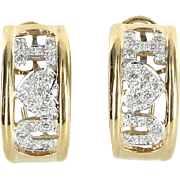 I Love You Diamond Earrings Vintage 14 Karat Gold Estate Fine Jewelry Heirloom