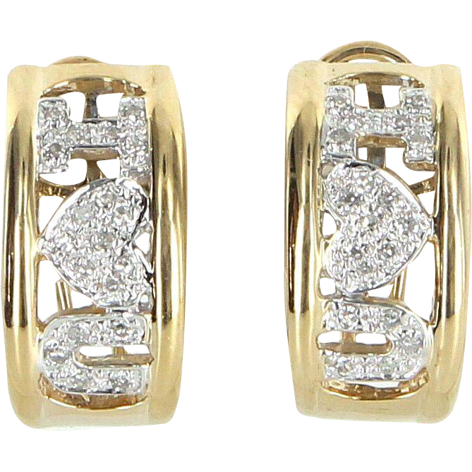 I Love You Diamond Earrings Vintage 14 Karat Gold Estate Fine Jewelry Heirloom
