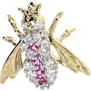 Pink Sapphire Diamond Bumble Bee Brooch Pin Vintage 14 Karat Yellow Gold Estate Bug