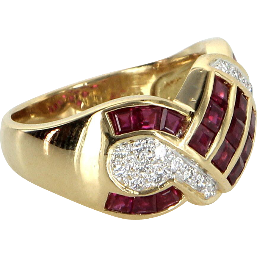 Ruby Diamond Band Ring Vintage 18 Karat Yellow Gold Estate Fine Jewelry Pre Owned
