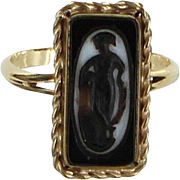 Vintage Art Deco Cameo Ring Vintage 14 Karat Yellow Gold Estate Fine Jewelry Heirloom
