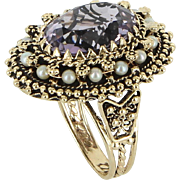 Amethyst Cultured Pearl Cocktail Ring Vintage 14 Karat Yellow Gold Estate Jewelry