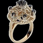 Sapphire Dome Filigree Cocktail Ring Vintage 14 Karat Gold Estate Fine Jewley