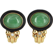Jade Onyx Diamond Vintage 18 Karat Gold Earrings Estate Fine Jewelry Pre Owned