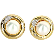 Cultured Pearl Diamond Round Stud Earrings Vintage 14 Karat Yellow Gold Estate Fine