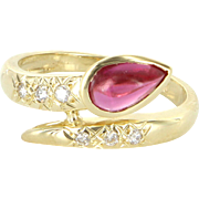 Pink Tourmaline Diamond Snake Ring Vintage 18 Karat Yellow Gold Estate Jewelry 7.5