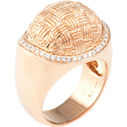 Textured Dome Cocktail Ring Vintage 14 Karat Rose Gold Estate Fine Jewelry Pre Owned