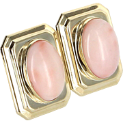 Angel Skin Coral Square Cocktail Earrings Vintage 14 Karat Yellow Gold Estate Jewelry