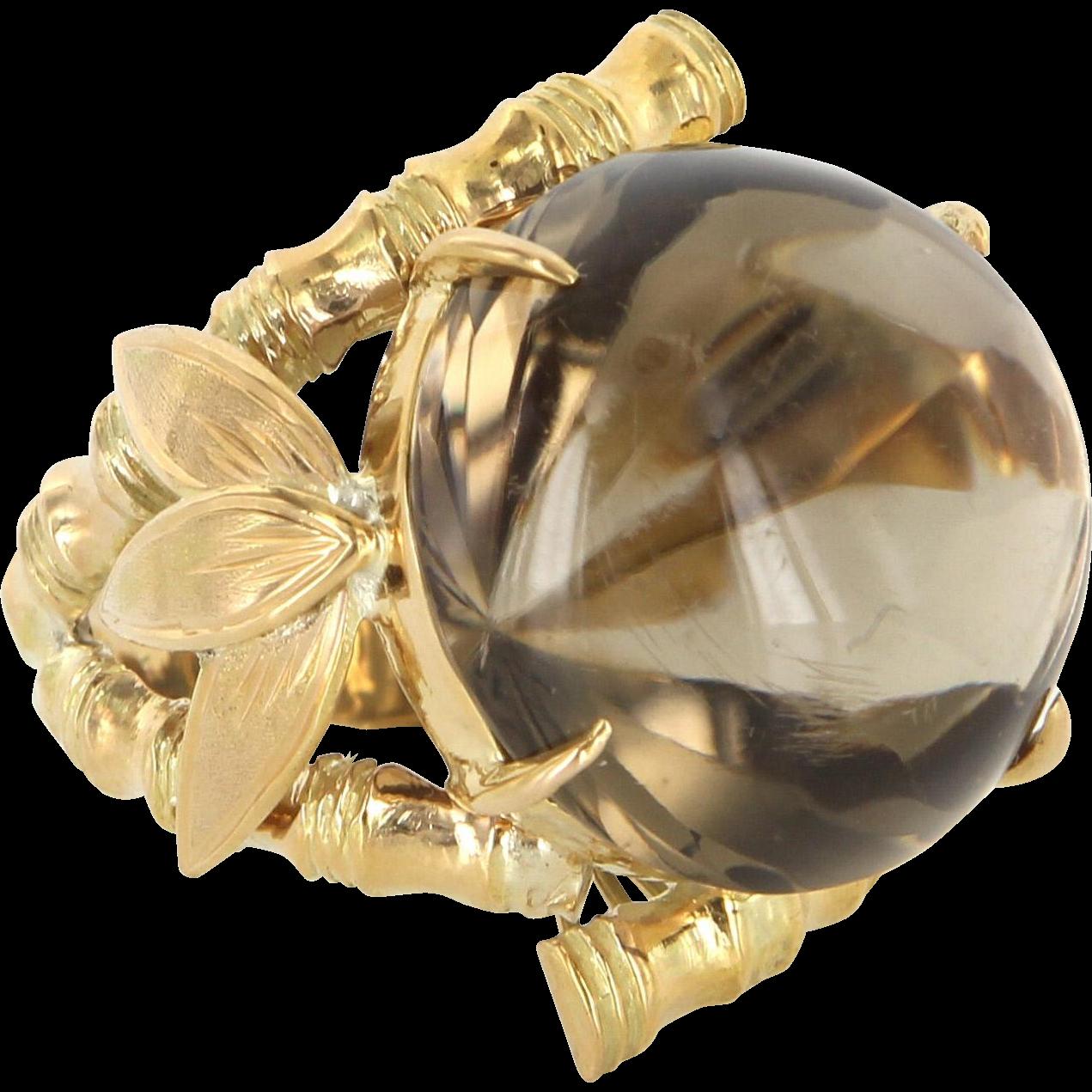 Bamboo Smoky Quartz Large Vintage Cocktail Ring 14 Karat Yellow Gold Estate Jewelry