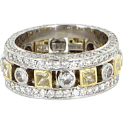 Jack Kelege Diamond Eternity Ring Sz 6 900 Platinum 18 Karat Gold Estate Fine Jewelry