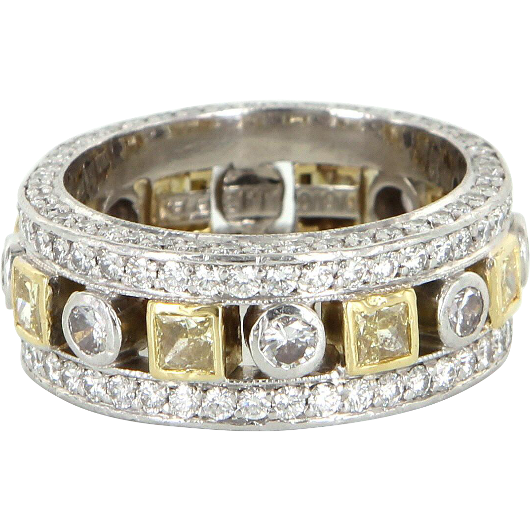 Jack Kelege Diamond Eternity Ring Sz 6 900 Platinum 18 Karat Gold Estate Fine Jewelry