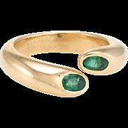 c1995 Cartier Ellipse Emerald Ring Vintage 18 Karat Yellow Gold Jewelry Sz 50 5.5